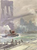 "Bela de Tirefort, ""Brooklyn Bridge"" Oil on Canvas"