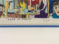 """James Rizzi """"Café in Paris"""" 3-D Colored Serigraph"""