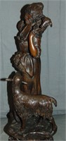 Bronze. Signed Hunt. Woman with Sheep.