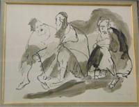 Mane Katz  (1894 - 1962) Watercolor.