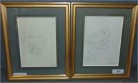 Marcel Delmotte  (1901 - 1984) Two Portraits.