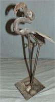 Bill Heise Folk Art Flamingo Iron Sculpture