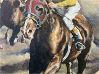 """Pal Fried, Oil on Canvas """"Horse Race"""""""