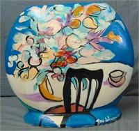 "Ray Johnson Handpainted Ceramic Vase ""Cafe"""