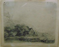 Rembrandt Etching, Landscape with a Cow