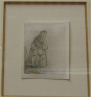 Rembrandt Etching, Beggar Woman Leaning on a Stick