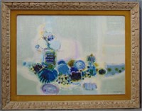"""Frederic Menguy, Oil on Canvas, """"Blue Still Life"""""""