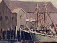 """Arthur Laws, Oil on Board """"New England Harbor"""""""