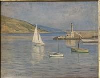 """Émile Delobre, Oil on Board """"Seascape with Boats"""""""