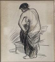 "John French Sloan, Charcoal on Paper ""Model"""