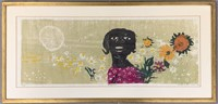 """Walter Henry Williams, Color Woodcut, """"Marguerite"""""""
