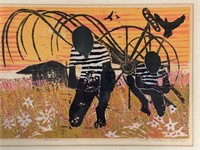 """Walter Henry Williams, Color Woodcut, """"Harvest"""""""