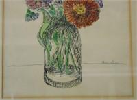 "Ben-Zion Weinman, Watercolor ""Floral Still Life"""