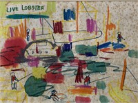 """Taro Yamamoto, Signed Watercolor """"Live Lobster"""""""