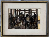 "Herbert Weintraub, Oil Illustration ""Steel Workers"