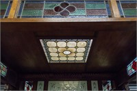 HUGE Antique Bar / Pub Room with Stained Glass