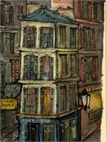 """Henri Royer, Oil on Paper """"French Street Scene"""""""