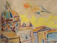 """Wayne Ensrud, Crayon on Paper """"Roman Forum"""""""