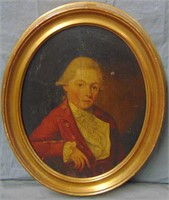 19th Century Oil on Wood Portrait.