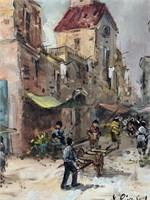 """Jose Rivas Lara, Oil on Canvas """"Market Scene"""""""