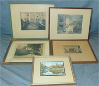 Wallace Nutting, 5 Hand Colored Photo Prints