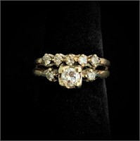 3/4CTW Old Mine Cut Diamond 14k Gold Ring