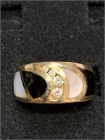 Modern Designer 14 Karat Yellow Gold Band