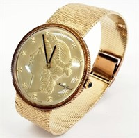 Mathey Tissot Solid 14K Gold Liberty Head Watch