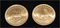 Gold Krugerrand Lot of Two One Ounce Coins.