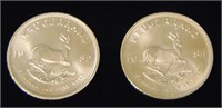 Gold Krugerand Lot of Two One Ounce Coins.