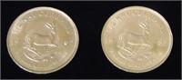 Krugerrand Lot of Two 1/2 Ounce Coins.