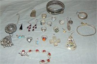 Estate Jewelry Lot. Gold, Silver and Costume.
