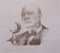 Winston Churchill Lithograph, Signed by Daughter