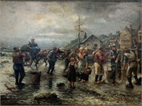 """Large Oil on Canvas, """"Villagers at the Docks"""""""