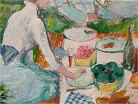 """Large Oil on Canvas, Victor Sardi """"The Picnic"""""""