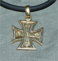 Diamond and 14Kt Yellow Gold Maltese Cross.