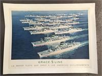 1960 Grace Line Fleet Ship Travel Poster