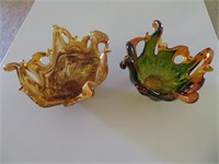 (2) Murano White Crystal Art Pieces