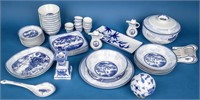 Huge Lot of Blue & White Asian Dinnerware