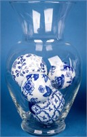 Lot of 10 Blue and White Decorative Ceramic Orbs