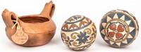 Folk Art Terra Cotta Bowl & Decorative Balls