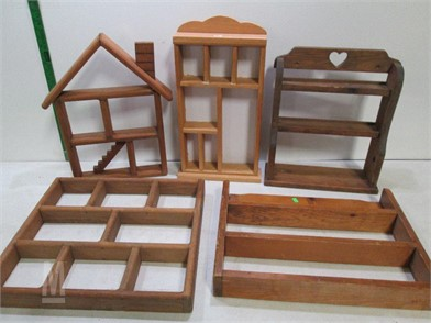 A124 Assortment Of Wooden Shelves Spice Racks Other Items