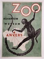 1954 Antwerp Zoo Aquarium Museum Poster, Landois