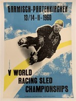 1960 Racing Sled Championships Poster, Germany