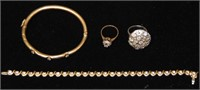 Group of Four Gold and Diamond Pieces.