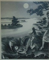"John de Martelly, Signed Lithograph ""Old Moon"""