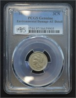 1876 Three Cent Piece PCGS AU Detail Environmental