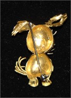 18 K Yellow Gold Brooches with Stones. (2).