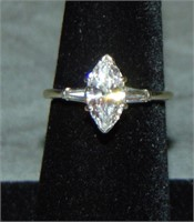 14 Kt White  Gold Marquise Diamond Ring.