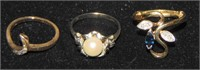 Lot of Three Estate Jewelry Rings.